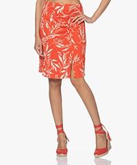 no man's land Printed Viscose Jersey Skirt - Paprika