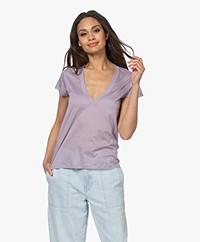 IRO Sharone Cotton V-neck T-shirt - Glycine