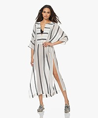 SU Paris Gaya Striped Gauze Kaftan - Off-white/Black