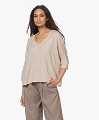 Majestic Filatures Linen T-shirt with Cropped Sleeves - Sable