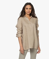 Repeat Linen Split Neck Blouse - Pepper
