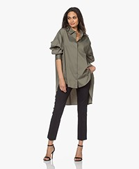 Woman by Earn Miep Poplin Stretch Shirt - Khaki