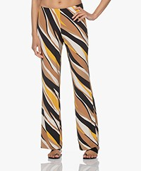 no man's land Loose-fit Viscose Printed Trousers - Toffee