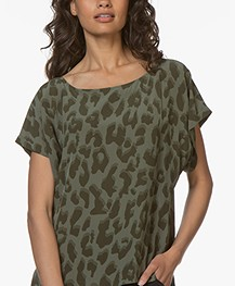 Drykorn Somia Viscose Printed Blouse - Khaki