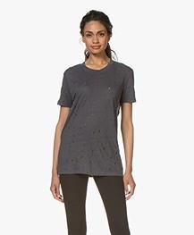IRO Clay Distressed Linnen T-shirt - Grey Denim