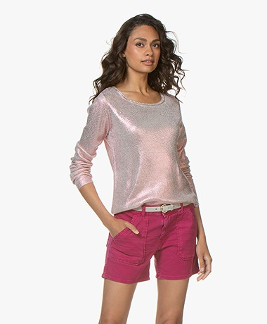 Majestic Filatures Silk Pullover with Metallic Coating - Metal Rose