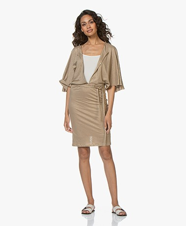 Majestic Filatures Linen Dress with Keyhole Details - Ficelle