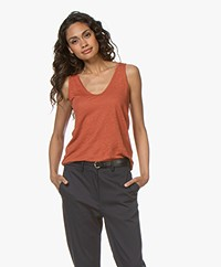 Drykorn Saimi Linen Jersey Tank Top - Terracotta Orange