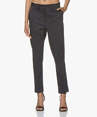 Woman by Earn Beth Stretch-Cotton Pants - Navy