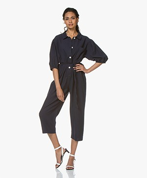 American Vintage Cupofty Cotton Twill Jumpsuit - Navy