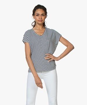 Belluna Pam Gestreept Katoenen T-shirt - Navy/Wit