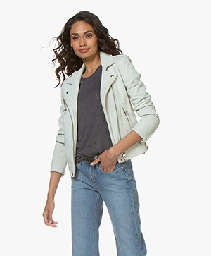 IRO Han Leather Biker Jacket - Blue White