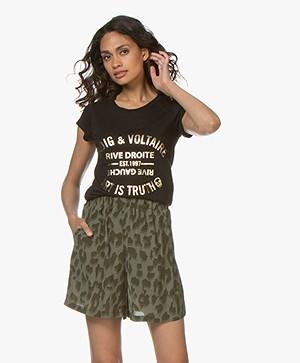 Zadig & Voltaire Skinny Blason Foil Print T-shirt - Zwart