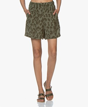 Drykorn Sweet Viscose Printed Shorts - Khaki