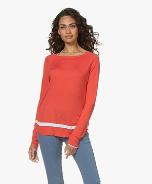 Plein Publique Le Jour Delicat Knit Sweater - Red/Ecru