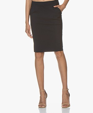 Woman by Earn Bibi Tech Jersey Pencil Skirt - Navy