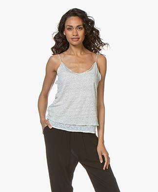 Majestic Filatures Layered Spaghetti Strap Top in Linen - Carrare/White