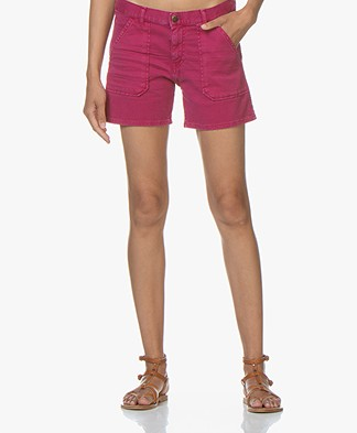 ba&sh Cselby Cotton Denim Shorts - Magenta