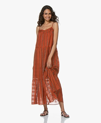 f218530b76e ba sh Kyo Striped Cotton Maxi Dress - Caramel