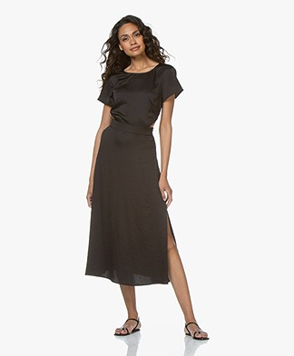 ba&sh Ritz Satin Crêpe Dress - Black