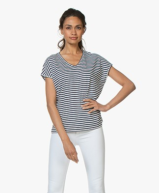 Belluna Pam Striped Cotton T-shirt - Navy/White