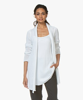 BRAEZ Knitted Open Cardigan in Cotton - White