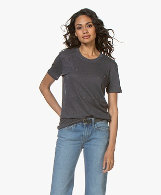 IRO Clay Distressed Linnen T-shirt - Grey Denim