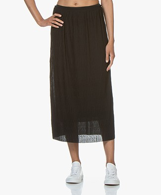 Filippa K Wave Plisse Midi Skirt - Black