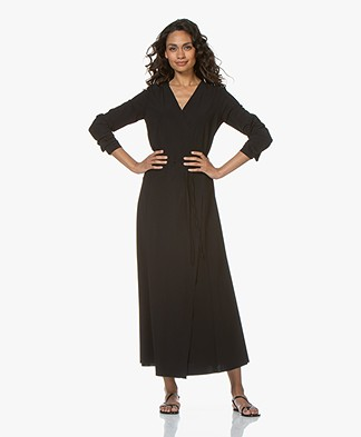 JapanTKY Aina Travel Jersey Maxi Wrap Dress - Black