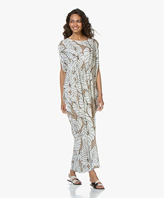 Majestic Filatures Linen Kaftan Dress with Print - Ficelle
