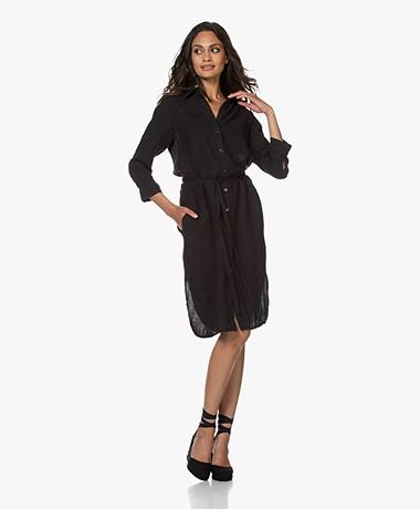Kyra & Ko Nadeen Linen Shirt Dress - Black