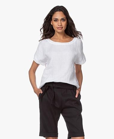 Kyra & Ko Anneke Linen Short Sleeve Blouse - White