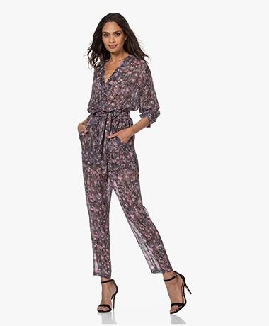IRO Poincia Chiffon Print Jumpsuit - Zwart/Roze