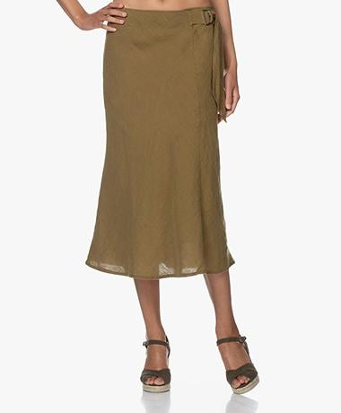 Kyra & Ko Brenda Linen Midi Skirt - Moss