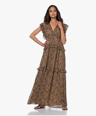 ba&sh Samanta Chiffon Maxi Dress with Ruffles - Carbon