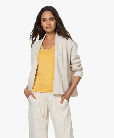 Sibin/Linnebjerg River Two-tone Short Cardigan - Kit/Off-white