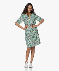 Kyra & Ko Diede Paisley Printed Crepe Dress - Poolblue