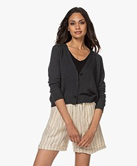 Pomandère Short Linen Blend Button-through Cardigan - Dark Grey