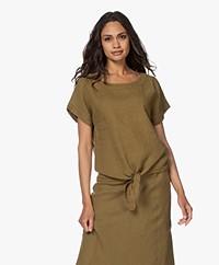Kyra & Ko Anneke Linen Short Sleeve Blouse - Moss