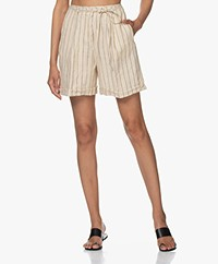 Pomandère Striped Linen Shorts - Beige