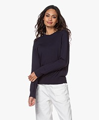 Denham Taylor Fine Knit R-neck Sweater - Navy