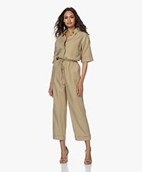 Denham Hewitt Linen Blend Jumpsuit - Slate Green
