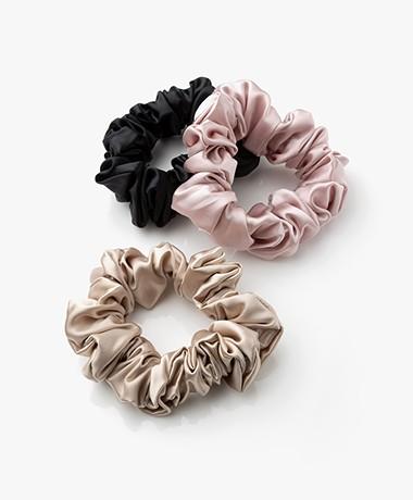 slip™ 3-pack Large Zijden Scrunchies - Zwart/Beige/Roze