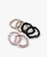 slip™ 6-pack Skinnies Zijden Scrunchies - Zwart/Beige/Roze