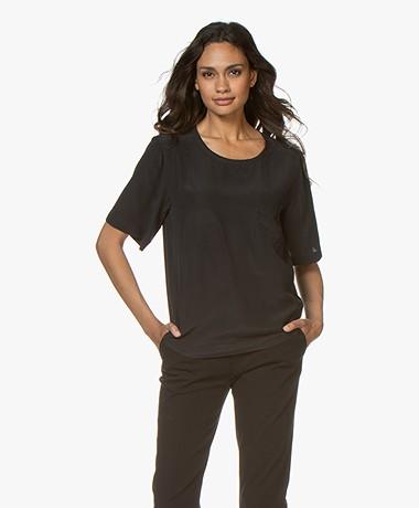 Joseph Jerry Silk Short Sleeve Shirt - Black