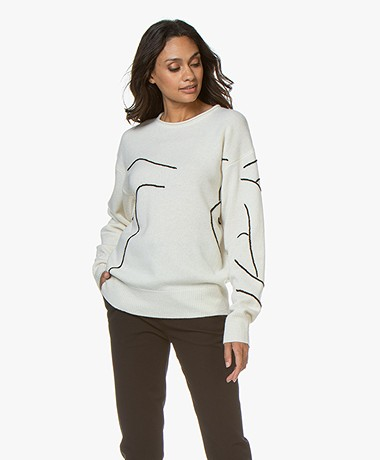 Joseph Woolen Embroidery Knit Sweater - Ecru