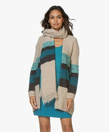 no man's land Striped Mohair Blend Scarf - Lagoon