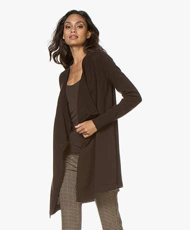 no man's land Open Cardigan with Draped Shawl Collar - Fondente