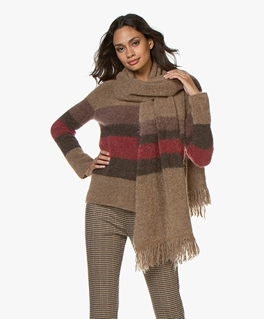 no man's land Striped Mohair Blend Scarf - Carmine