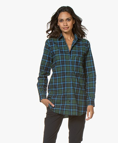 Woman by Earn Froukje Flannel Checkered Shirt - Navy